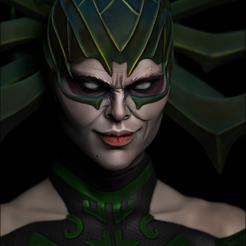 final render color bust.jpg Download STL file Hela - Thor Ragnarok • 3D printable template, KcStudio