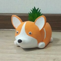 1eedba7d-5610-434b-9fc3-97ec01750fd2.jpg Download STL file Planter corgi, dog, flower pot • 3D printing model, siipost1