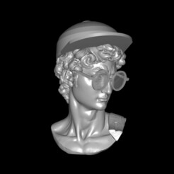 David with glasses0000.jpg Télécharger fichier STL Tête du David de Michel-Ange en lunettes et casquette • Objet pour imprimante 3D, zhenyap12