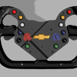 Front.png Download STL file DIY Chevrolet Camaro GT4.R Steering Wheel • Template to 3D print, Hupske