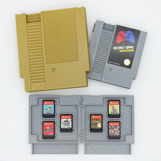 r3.jpg Download STL file Retro Cartridge Game Holders for Nintendo Switch - NES Style • 3D printer object, NKpolymers