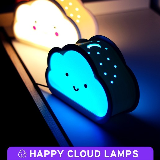 0.jpg Download free STL file Happy Cloud Lamps - With Casting Shadow Effect • 3D printable model, NKpolymers