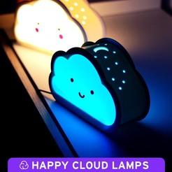 0.jpg Télécharger fichier STL gratuit Lampes Happy Cloud - Avec effet d'ombre portée • Design à imprimer en 3D, NKpolymers