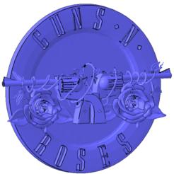 01.png Télécharger fichier STL Logo Guns n' Roses • Objet à imprimer en 3D, rosavelnat