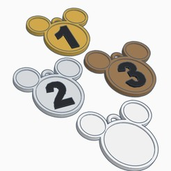 mickey medals.jpg Download STL file Mickey Medals for Kids Competitions (set of 4) • 3D print template, helderbernardo