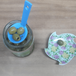 """untitled2.png Download STL file """"CUPPINO"""" reworked Take food from jar in oil - spoon • Template to 3D print, bellavistanicola"""