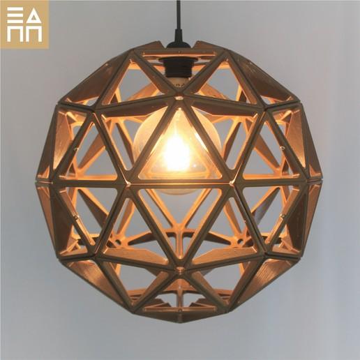 Geodesic Sphere Gold Light On.jpg Descargar archivo STL Esfera geodésica de sombra de lámpara • Plan para la impresión en 3D, 3DPrintProjectAthens