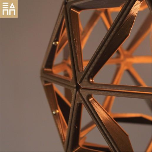 Geodesic Sphere Close Up Gold.jpg Descargar archivo STL Esfera geodésica de sombra de lámpara • Plan para la impresión en 3D, 3DPrintProjectAthens