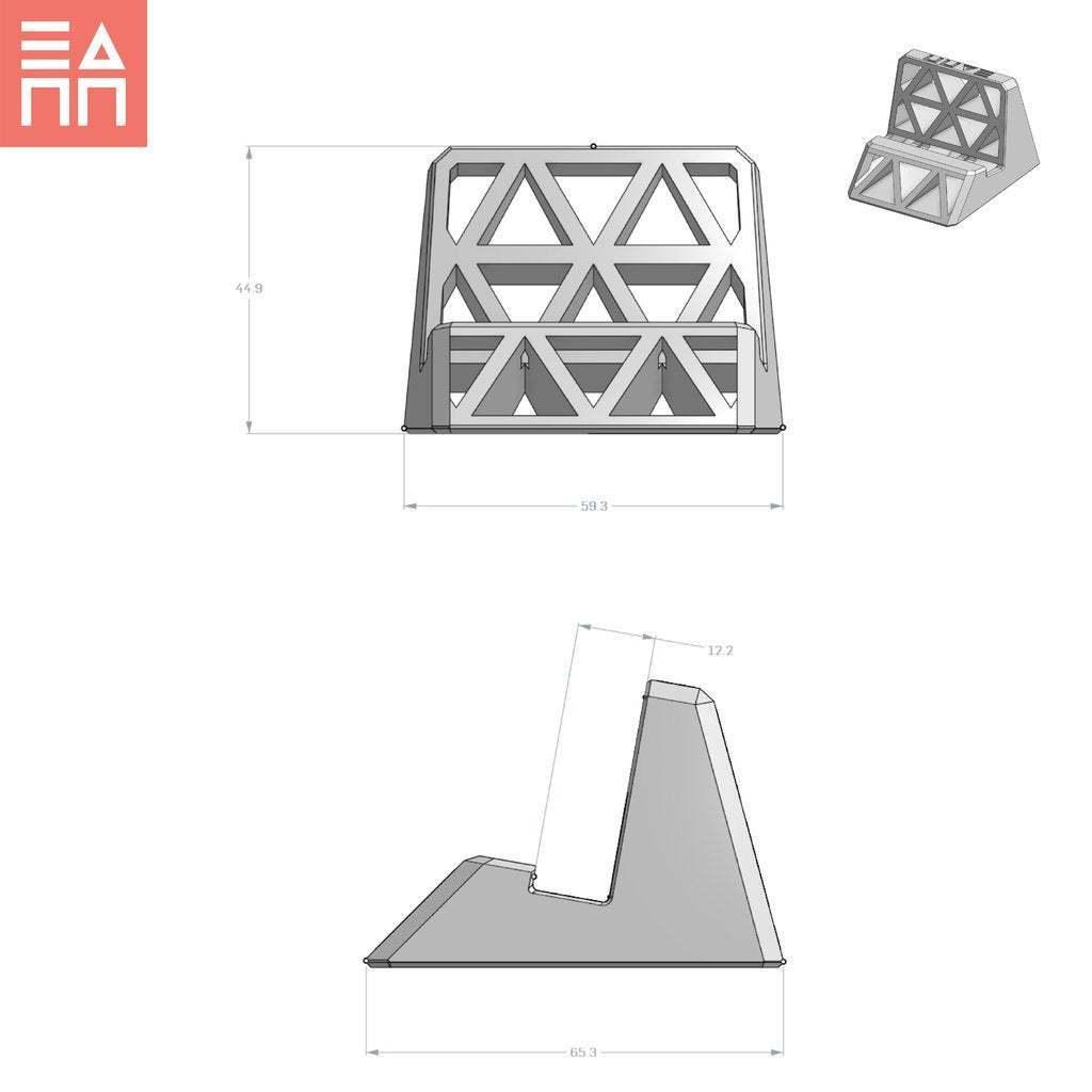 Dim_Sheet.jpg Télécharger fichier STL gratuit Stand de téléphone et de tablette • Objet pour impression 3D, 3DPrintProjectAthens