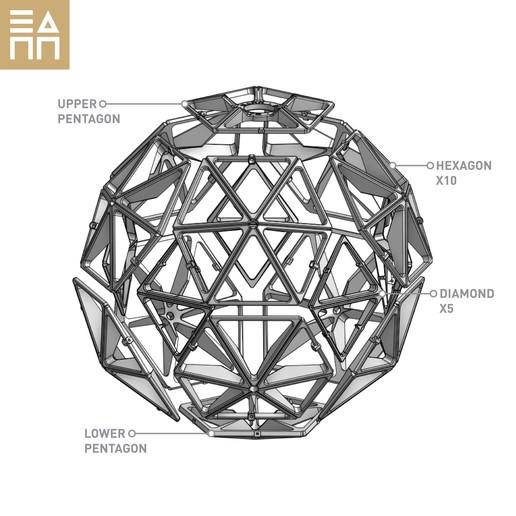 GD Exploded View.jpg Descargar archivo STL Esfera geodésica de sombra de lámpara • Plan para la impresión en 3D, 3DPrintProjectAthens