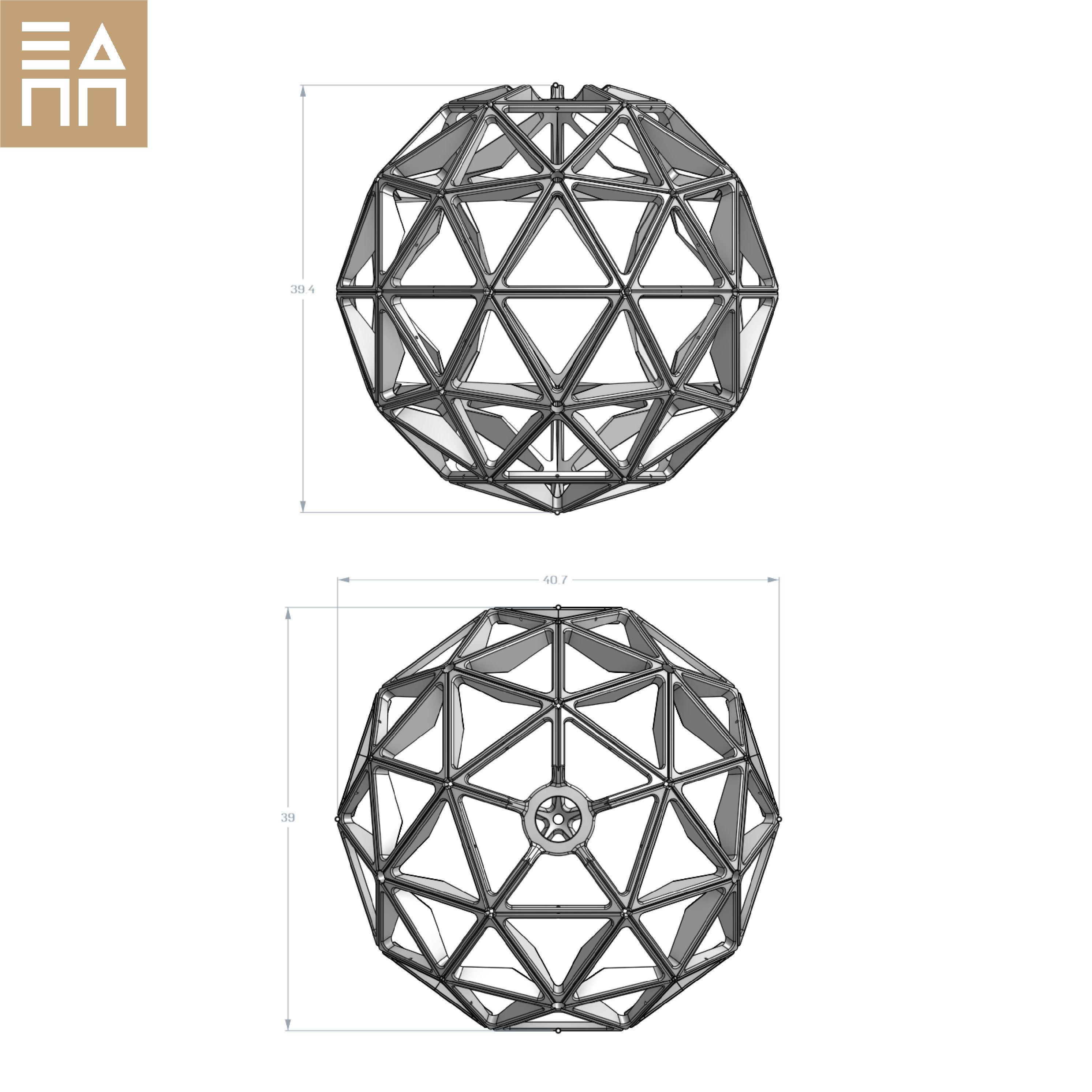 Dimensions.jpg Descargar archivo STL Esfera geodésica de sombra de lámpara • Plan para la impresión en 3D, 3DPrintProjectAthens