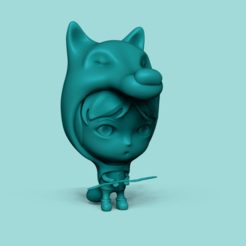 Download 3D printer designs Winter Girl - Cute Wolf Costume, gui_sommer