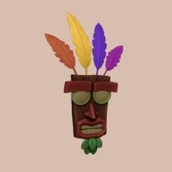 render 1.png Télécharger fichier STL Crash Bandicoot - Masque Aku Aku • Objet à imprimer en 3D, gui_sommer