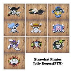 Collage.jpg Télécharger fichier STL One Piece Strawhat Pirates Jolly Rogers(PTS) • Modèle imprimable en 3D, print3d08