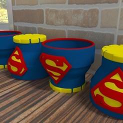 05.jpg Télécharger fichier STL Style Superman, DC Comics (2 options) / pot de fleurs Style Superman, DC Comics • Design pour imprimante 3D, Larmaries