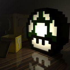 Download 3D printer designs Translucent 8-bit mushroom lamp, Larmaries