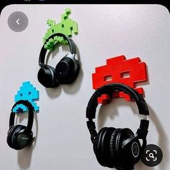121649828_3641347172566504_13365736149333616152.jpg Download STL file Space Invaders Headphone Holder • 3D print template, 3Dimension3d