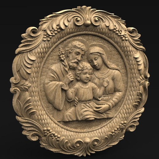 Download free OBJ file Holy Family 3D Relief • 3D printer object, DavidG7