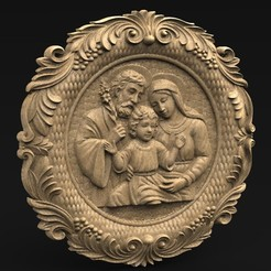 Holy_Family_KEY.jpg Download free OBJ file Holy Family 3D Relief • 3D printer object, DavidG7