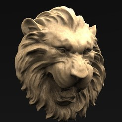Download free STL file Lion Relief 2 3D Model • 3D print object, DavidG7