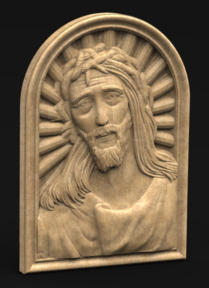 Face_of_Christ_01_KEY.jpg Télécharger fichier STL gratuit Visage du Christ 3D Relief • Modèle à imprimer en 3D, DavidG7