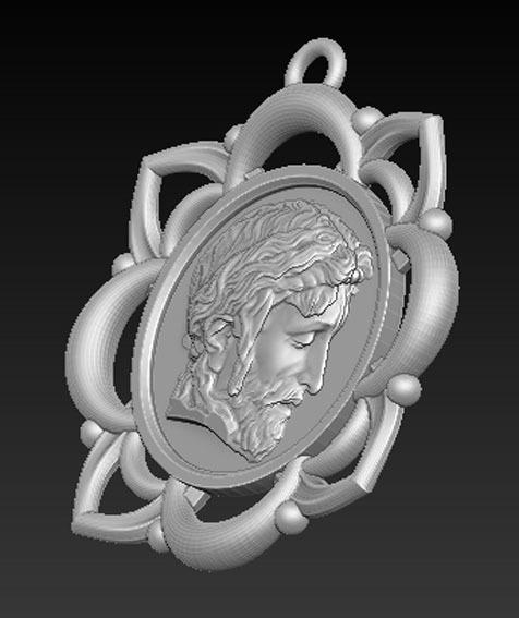 Pendant_Christ_03.jpg Télécharger fichier STL gratuit Pendentif Visage du Christ Modèle 3D • Design pour imprimante 3D, DavidG7