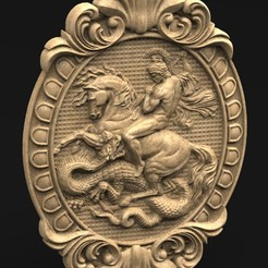 Download free OBJ file Saint George Relief 2 • 3D printing object, DavidG7