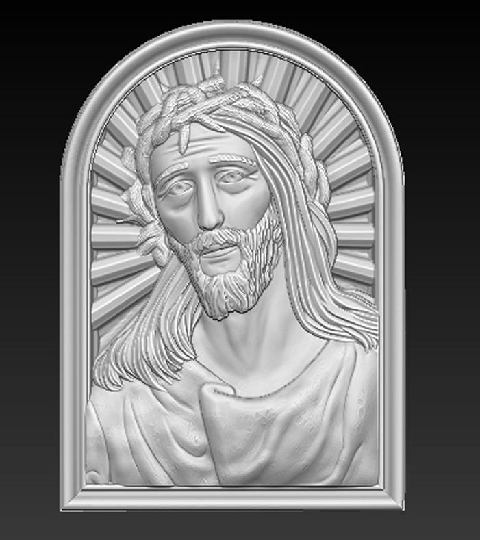 Face_of_Christ_01.jpg Télécharger fichier STL gratuit Visage du Christ 3D Relief • Modèle à imprimer en 3D, DavidG7