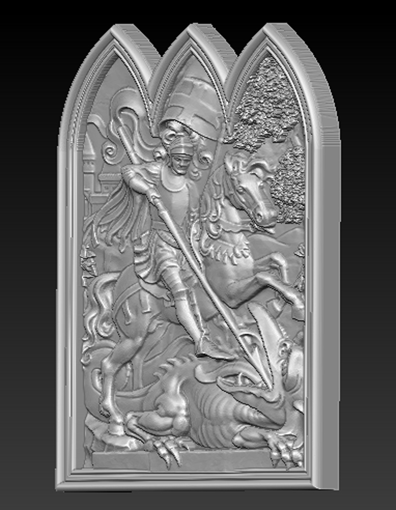 Saint_George_02.jpg Download free STL file Saint George 3D Relief • 3D printer design, DavidG7