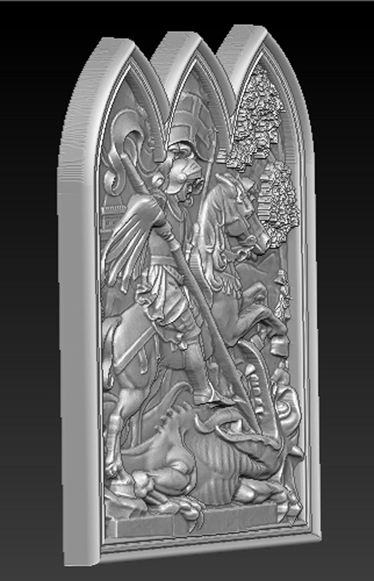 Saint_George_04.jpg Download free STL file Saint George 3D Relief • 3D printer design, DavidG7