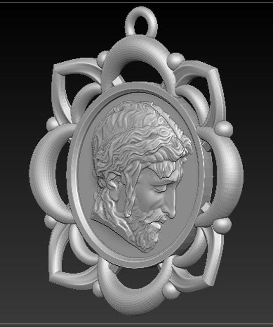 Pendant_Christ_02.jpg Télécharger fichier STL gratuit Pendentif Visage du Christ Modèle 3D • Design pour imprimante 3D, DavidG7
