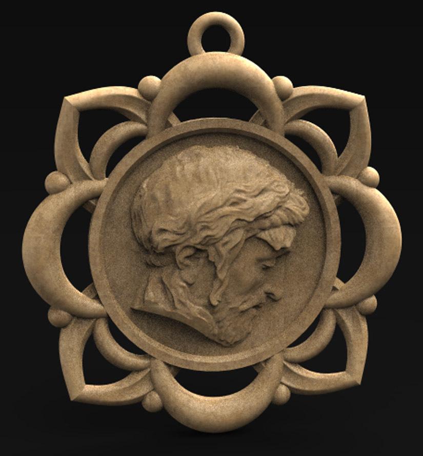 Pendant_Christ_001_KEY.jpg Télécharger fichier STL gratuit Pendentif Visage du Christ Modèle 3D • Design pour imprimante 3D, DavidG7