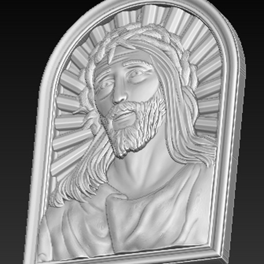 Face_of_Christ_04.jpg Télécharger fichier STL gratuit Visage du Christ 3D Relief • Modèle à imprimer en 3D, DavidG7