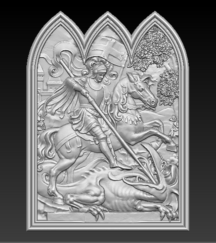 Saint_George_01.jpg Download free STL file Saint George 3D Relief • 3D printer design, DavidG7