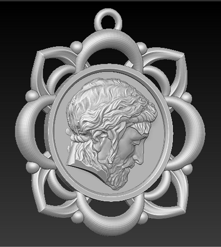 Pendant_Christ_001.jpg Télécharger fichier STL gratuit Pendentif Visage du Christ Modèle 3D • Design pour imprimante 3D, DavidG7