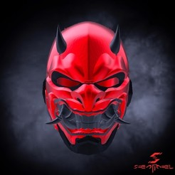 280120AD-0245-4AC4-8FE5-AB430A527831.jpeg Download STL file 3D Files-Red Hood Oni Helmet • Design to 3D print, cisnerosernie117