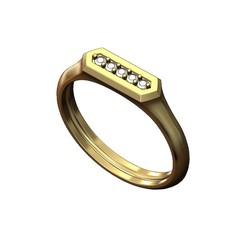 Hexa-signet-pavé-00.JPG Download 3MF file Hexagonal slot low profile signet ring 3D print model • 3D printable model, RachidSW