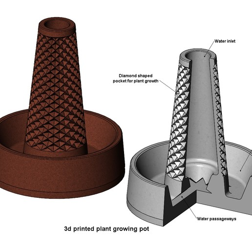 planting-pot-00.JPG Download 3MF file Plant growing pot with water and soil bank 3D print model • Design to 3D print, RachidSW