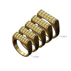 Knurled-Cylindrical top signet ring-00.JPG Download 3MF file Knurled cylindrical top signet ring 3D print model • 3D printer model, RachidSW