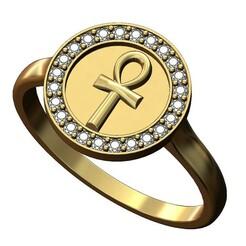 Ankh-diamond-ring-00.JPG Download 3MF file Ankh key of life diamond ring 3D print model • Design to 3D print, RachidSW