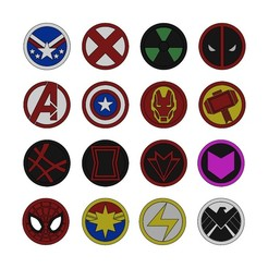 logos-coins-00.JPG Download 3MF file Superhero logos and coins 3D print model • Design to 3D print, RachidSW
