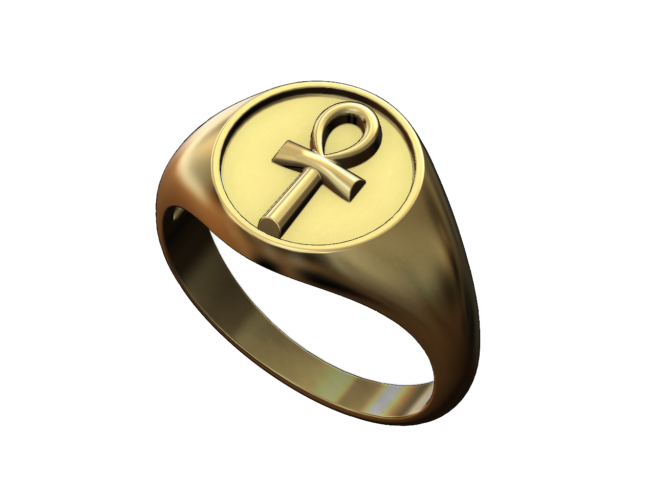 Ankh-signet-ring-01.JPG Download 3MF file ANKH eternal key of life round signet ring 3D print model • Template to 3D print, RachidSW