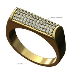 Diamond Cylindrical top signet ring-01.JPG Download 3MF file Diamond cylindrical top signet ring 3D print model • 3D printer object, RachidSW