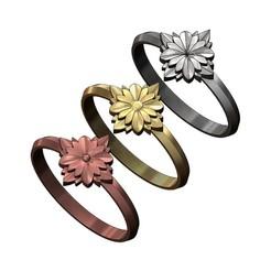 square-rosette-rings-00.JPG Télécharger fichier 3MF Modèle d'impression 3D de 3 anneaux de rosette de fleurs • Objet pour impression 3D, RachidSW