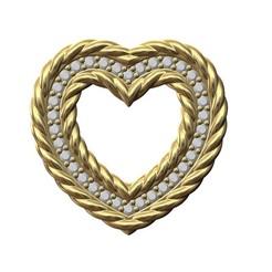 BRAIDED-HEART-V2-STONES-000.JPG Download 3MF file Braided Heart pendant with diamonds 3D print model • Design to 3D print, RachidSW