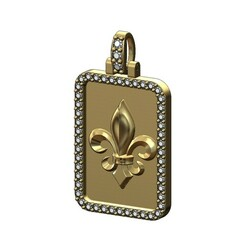 Lys-Recta-memory-picture -pendant-frame-00.JPG Download 3MF file Rectanguler Diamond Heraldic Lily Pendant 3D print model • 3D printing object, RachidSW