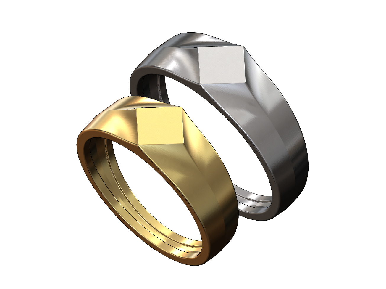 SQUARE-SIGNET-00.JPG Download 3MF file Simple quadrangle flat top signet ring 3D print model • 3D printable model, RachidSW