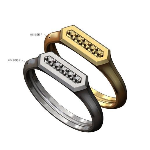 Hexa-signet-pavé-10.JPG Download 3MF file Hexagonal slot low profile signet ring 3D print model • 3D printable model, RachidSW
