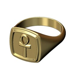 Ankh-square-signet-00.JPG Download 3MF file Key of life Stepped Square signet ring 3D print model • 3D printer template, RachidSW