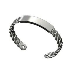 Tag-cuban-link-cuff-bracelet-00.JPG Download 3MF file Solid Engravable tag Cuban link chain cuff bracelet 3D print model • 3D printer template, RachidSW